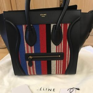 CELINE Striped Cotton Canvas Mini Luggage in Navy